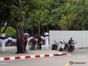 A group of motorcycle taxists