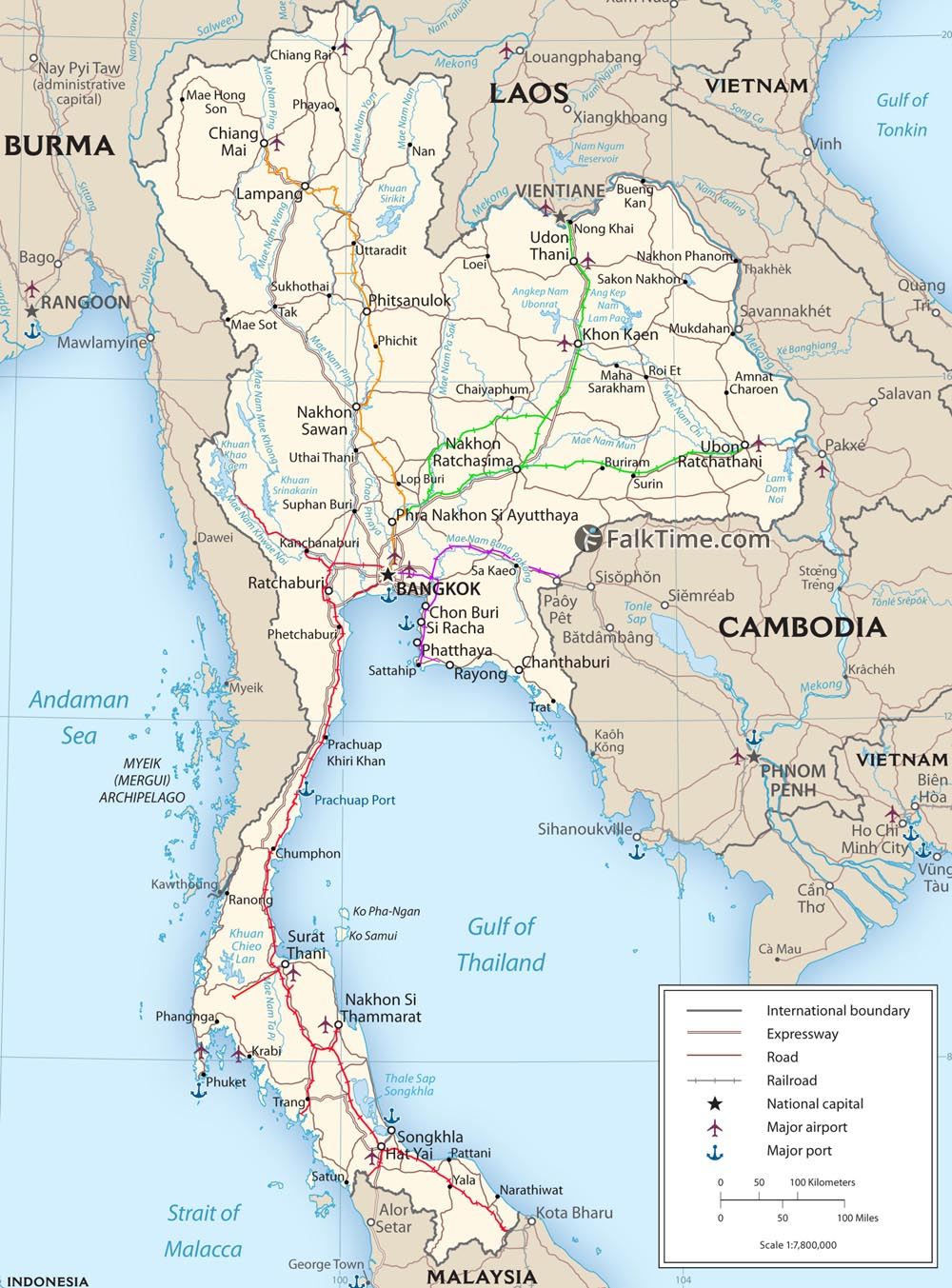 Map of Thai railways