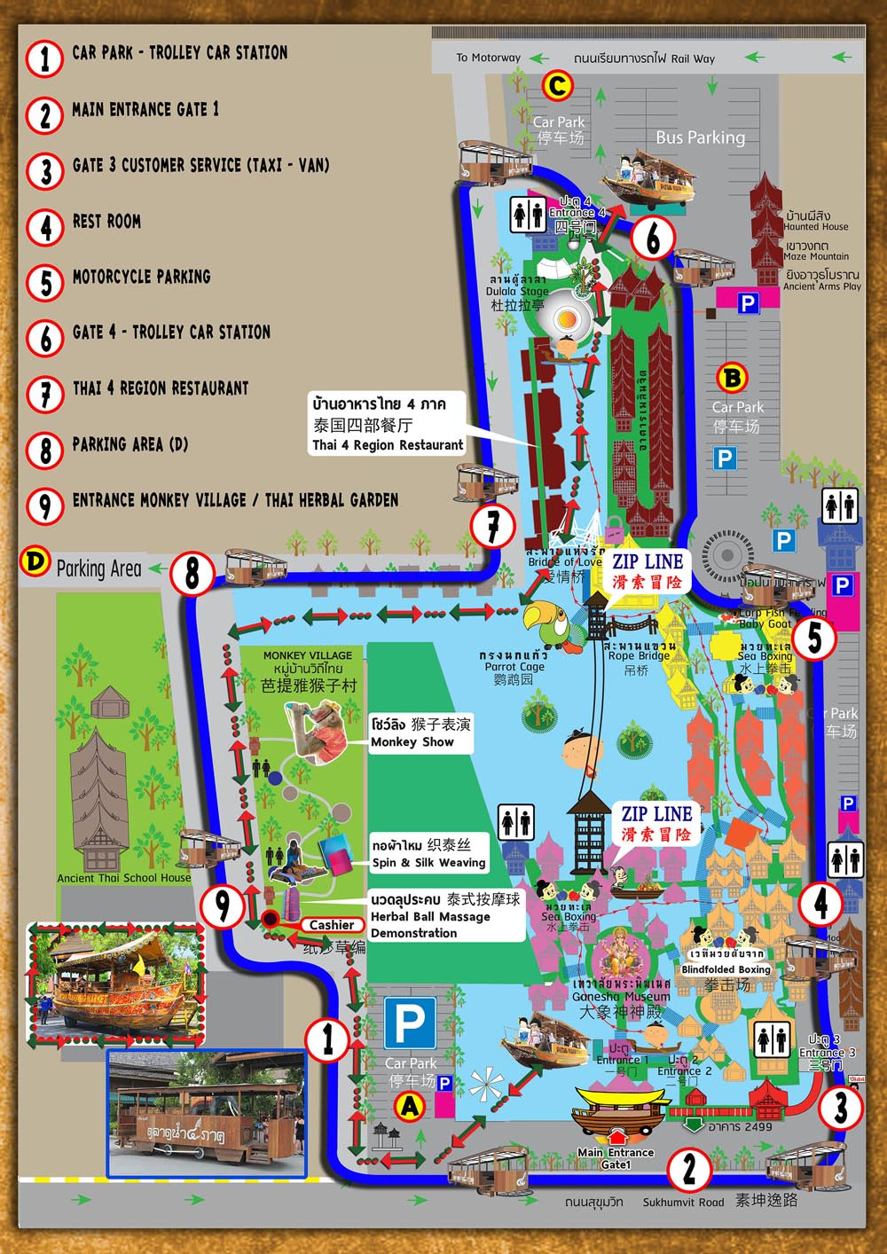 Map of Pattaya floating market