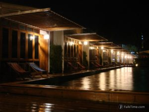 Rain in the evening, hotel with pool
