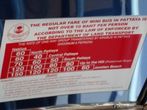 Rates of baht bus (songthaew) in Pattaya